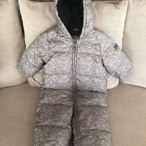 Feather gray down filled toddler snow suit